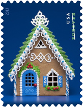 Blue Gingerbread House Stamp, 2013