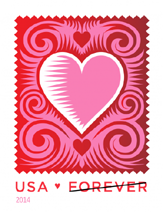Love: Cut Paper Heart Stamp, 2014, Love Stamp