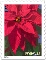 USPS Poinsettia Forever Stamp 2014, Flower Stamp, Christmas Stamp