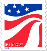 USPS Red White and Blue Flags Forever Stamp, 2014