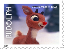 USPS Rudolph the Red-Nosed Reindeer Forever Stamp 2014, Christmas Stamp