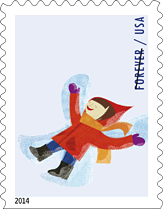 Winter Fun Snow Angel Forever Stamp, 2014