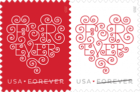 USPS Love Hearts Forever Stamps 2015, Love Stamps, Heart Stamps