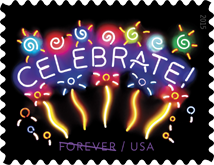 USPS, Neon Celebrate Forever Stamp, 2015