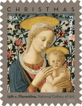 USPS Madonna and Child Christmas Forever Stamps 2016 - National Gallery of Art