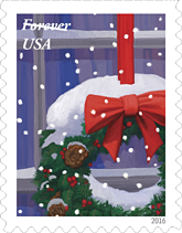 USPS Holiday Windows Stamp, Holiday Windows Wreath Stamp, 2016