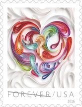 Quilled Paper Heart, Love Forever Stamp, USPS 2016