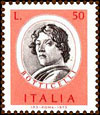 Self-portrait of Sandro Botticelli used as subject of an Italian postage stamp