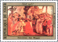 Postage stamp of the Adoration of the Kings by Sandro Botticelli