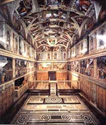 partial interior view of the Sistine Chapel