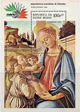 Postage Stamp depciting the Madonna and Child with two Angels by Sandro Botticelli