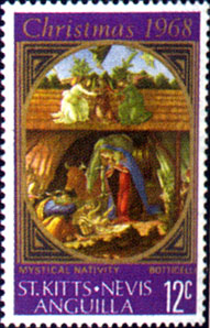 St. Kitts-Nevis and Anguilla issed this 1968 postage stamp issue depicting a cropped version of the Mystic Nativity by Sandro Botticelli.