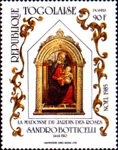 Postage stamp issued by Togo depicting a scaled down version of the Madonna of the Rose Garden by Sandro Botticelli.