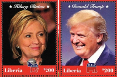 Hillary Clinton and Donald Trump - Race to the White House - 2016 Stamps from Libera