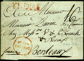"April 19, 1790 folded letter to Bordeaux, France, also shows a manuscript ""16"" decimes due and a red ""YNDIAS""