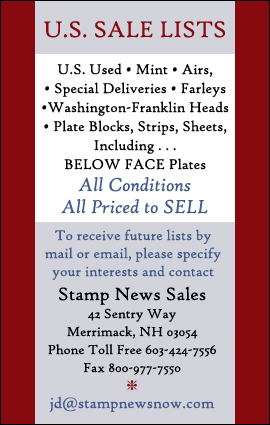 U.S. Stamp Sale Lists - US Used Stamps, Mint Stamps, Airs, Special Deliveries, Farleys, Washington-Francklin Heads, Plate Blocks - Strips, Sheets