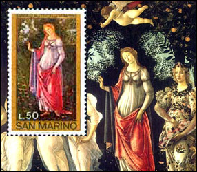 Postage stamp created from a portion of the Primavera painting, also known as the Allegory of Spring by Sandro Botticelli