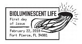 USPS First Day of Issue - Bioluminiscent Life Stamp - Black and White Ceancel 2018
