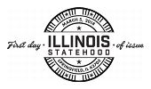 USPS First Day of Issue - Illinois Statehood Stamp - Black and White Cancel 2018