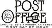 Post Office Murals black and white cancel, 2019, USPS