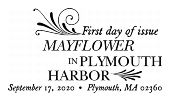 USPS, Mayflower in Plymouth Harbor cancel in black and white, 2020