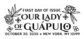 USPS, Our Lady of Guapulo cancel in black and white