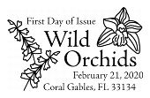 Wild Orchids cancel in black and white