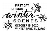 USPS, Winter Scenes Cancel in black and white, 2020