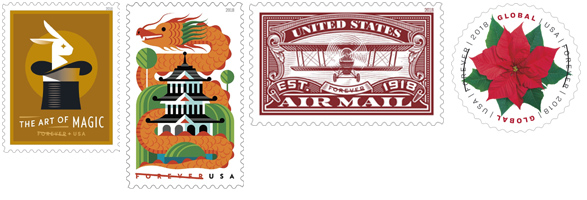 USPS August Stamp Release  2018 O The Art of Magic, Dragons, U.S. Airmail, and Global Poinsettia