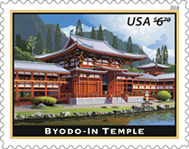 Byodo-In Temple Stamp, Byodo-In Temple  Priority Mail Stamp, USPS 2018