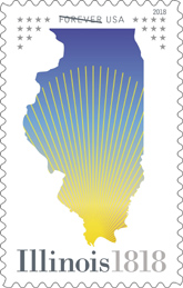 Illinois Statehood stamp, USPS 2018