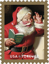 USPS Sparkling Holidays Santa Stamp 2018