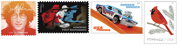 USPS September Stamp Release  2018 John Lennon Stamp, First Responder Stamp, Hot Wheels Stamps, Bird in Winter Stamps
