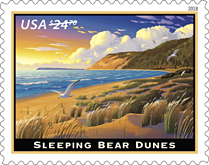 Sleeping Bear Dunes stamp, USPS 2018  (Priority Mail Express)